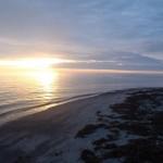 Vejerø og Kyholm i solopgangen.
